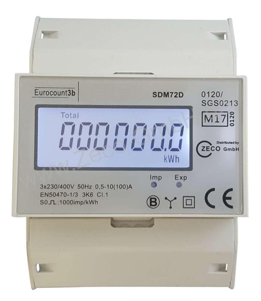 Drehstromzähler Energiezähler geeicht 2018 mit S0 für Hutschiene 100A 400V